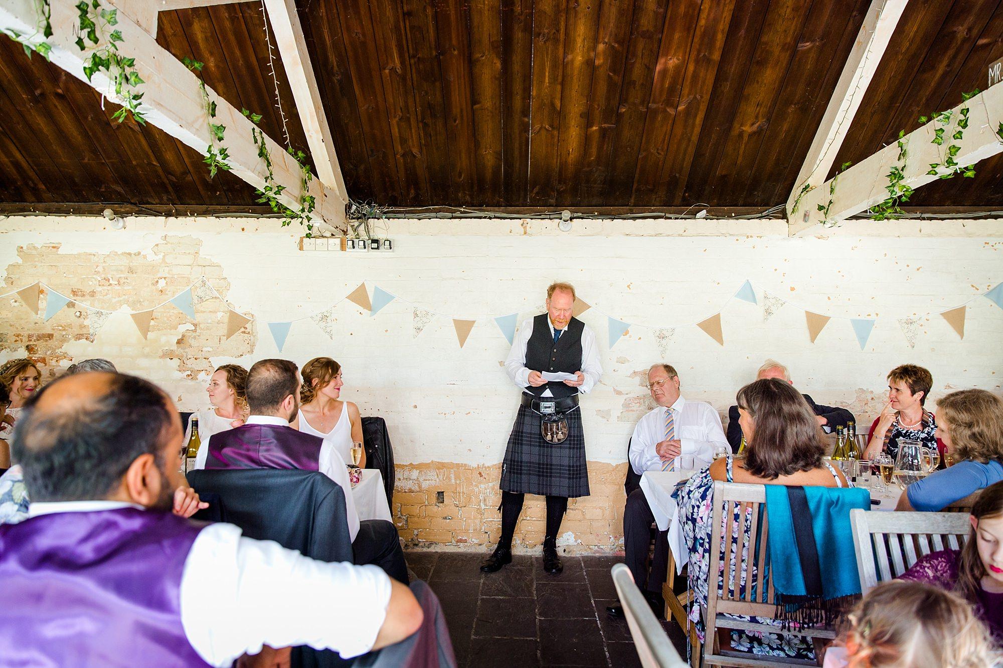Isis Farmhouse Oxford Wedding father of bride giving speech
