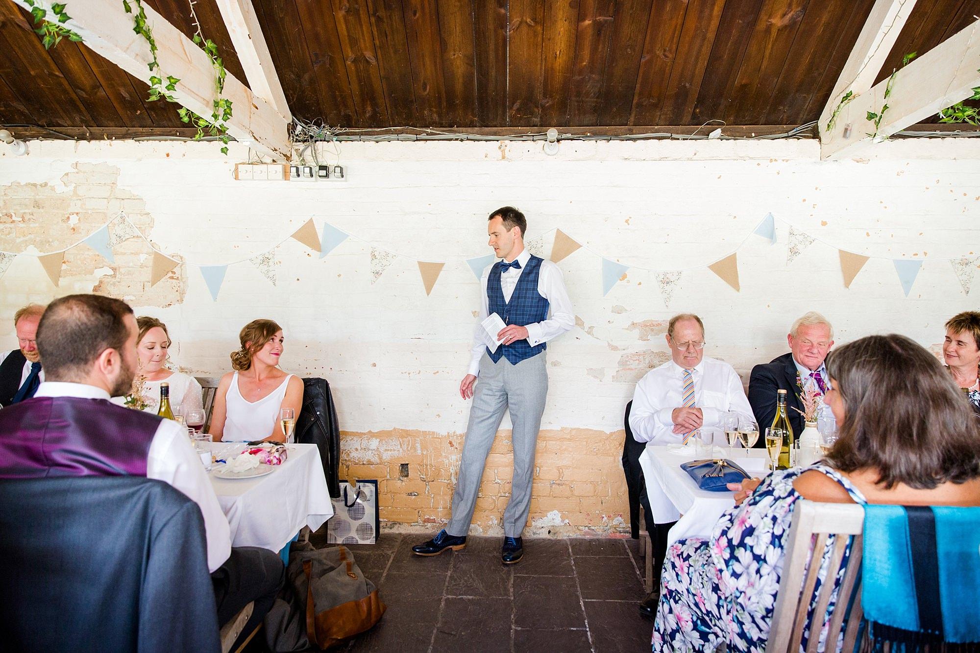 Isis Farmhouse Oxford Wedding groom gives a speech