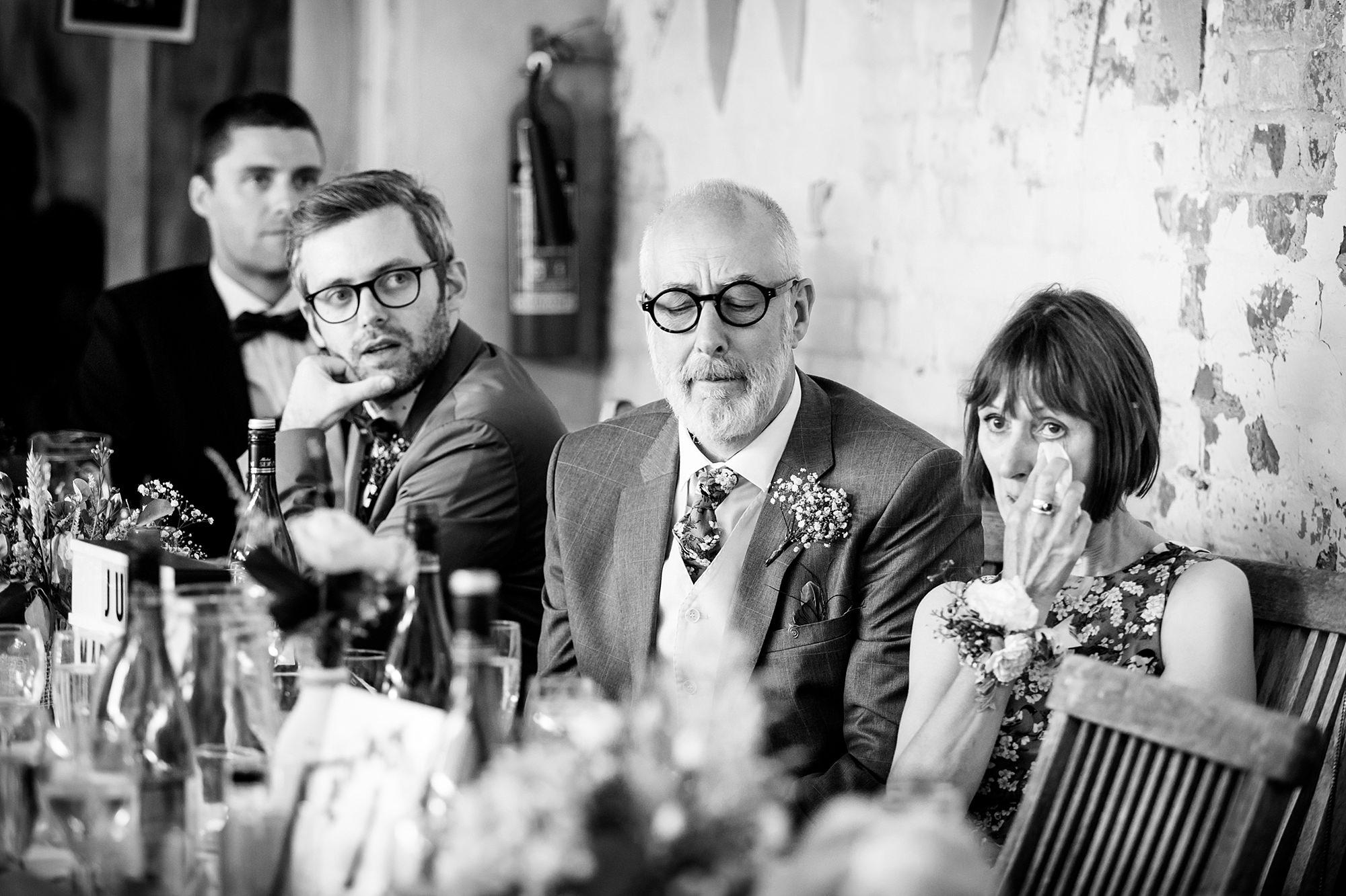 Isis Farmhouse Oxford Wedding groom's parents react to his speech