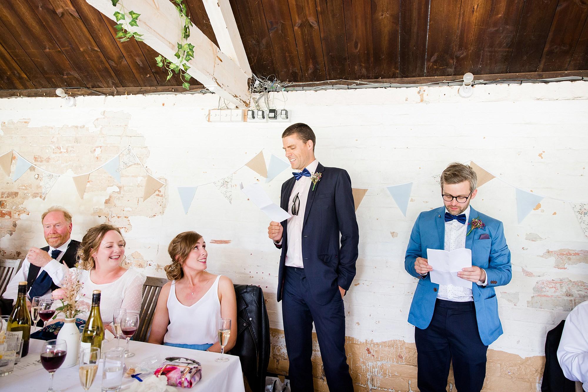 Isis Farmhouse Oxford Wedding best men give a speech