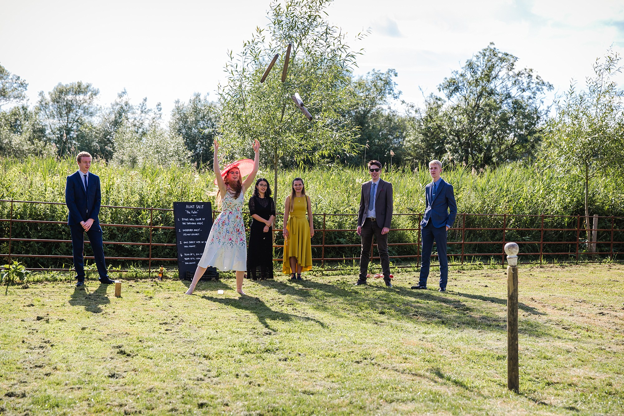Isis Farmhouse Oxford Wedding guests playing garden games