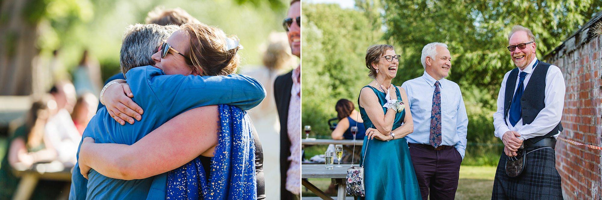 Isis Farmhouse Oxford Wedding guests having fun