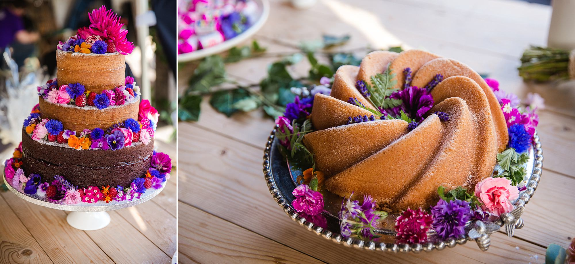 Isis Farmhouse Oxford Wedding cake decorated with real edible flowers
