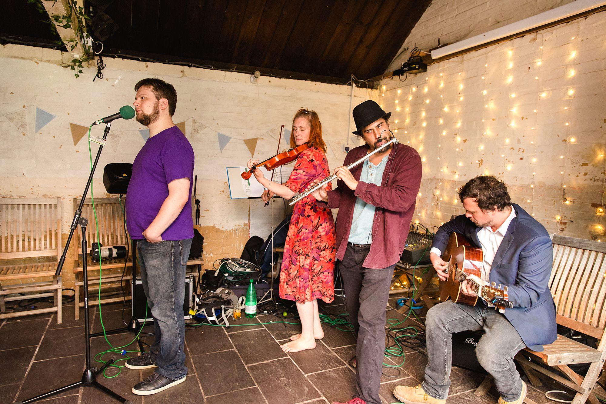 Isis Farmhouse Oxford Wedding ceilidh band playing