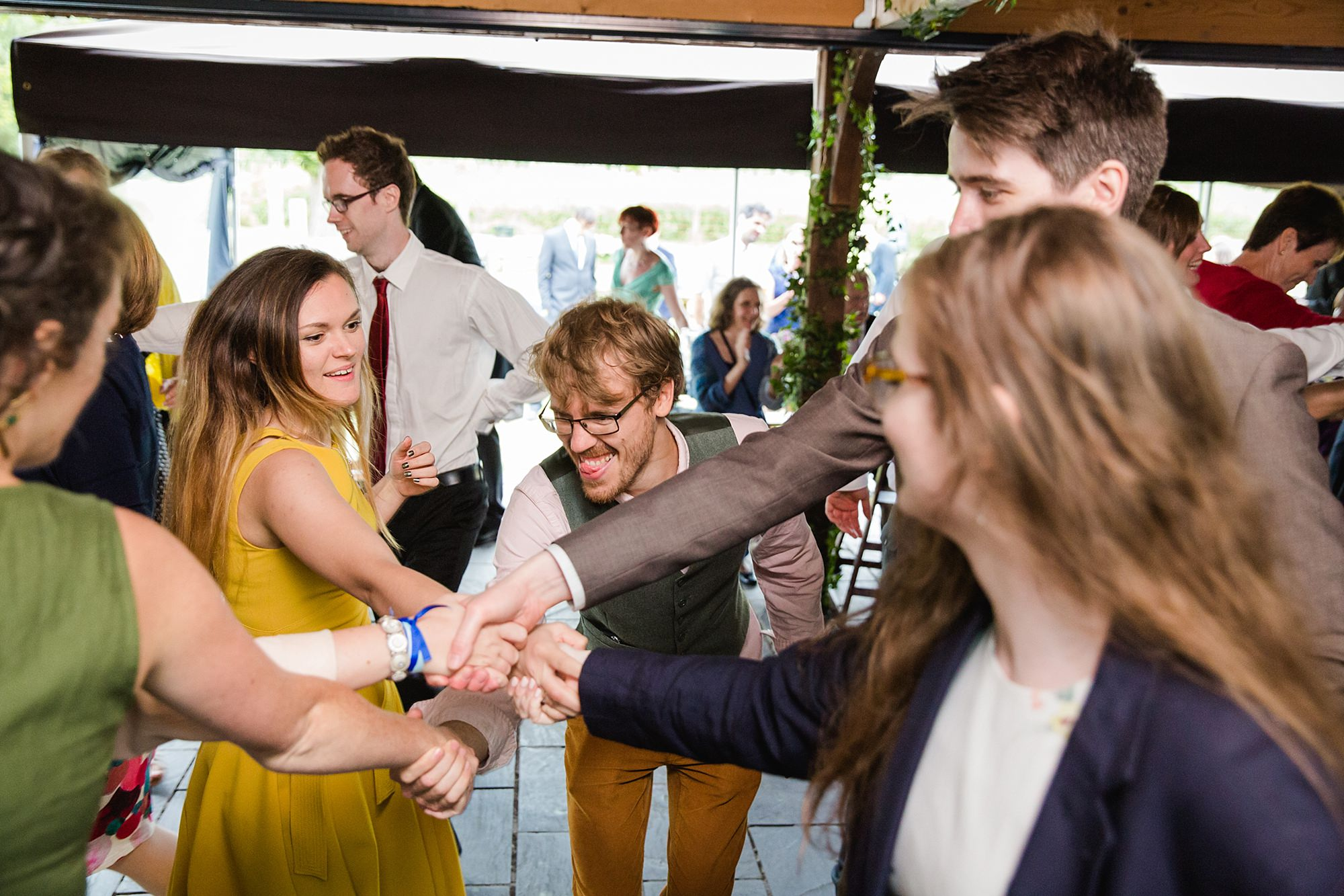 Isis Farmhouse Oxford Wedding fun guests dancing