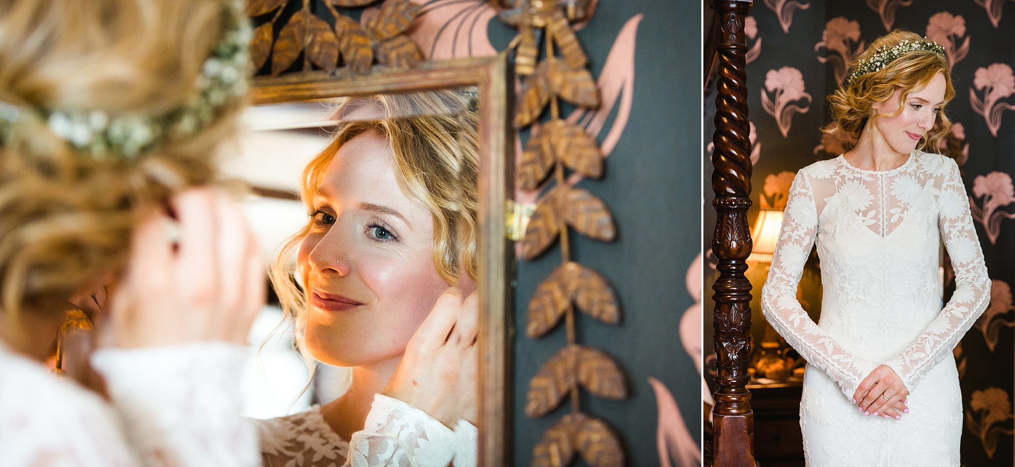 Isis Farmhouse Oxford Wedding bride puts on her jewellery