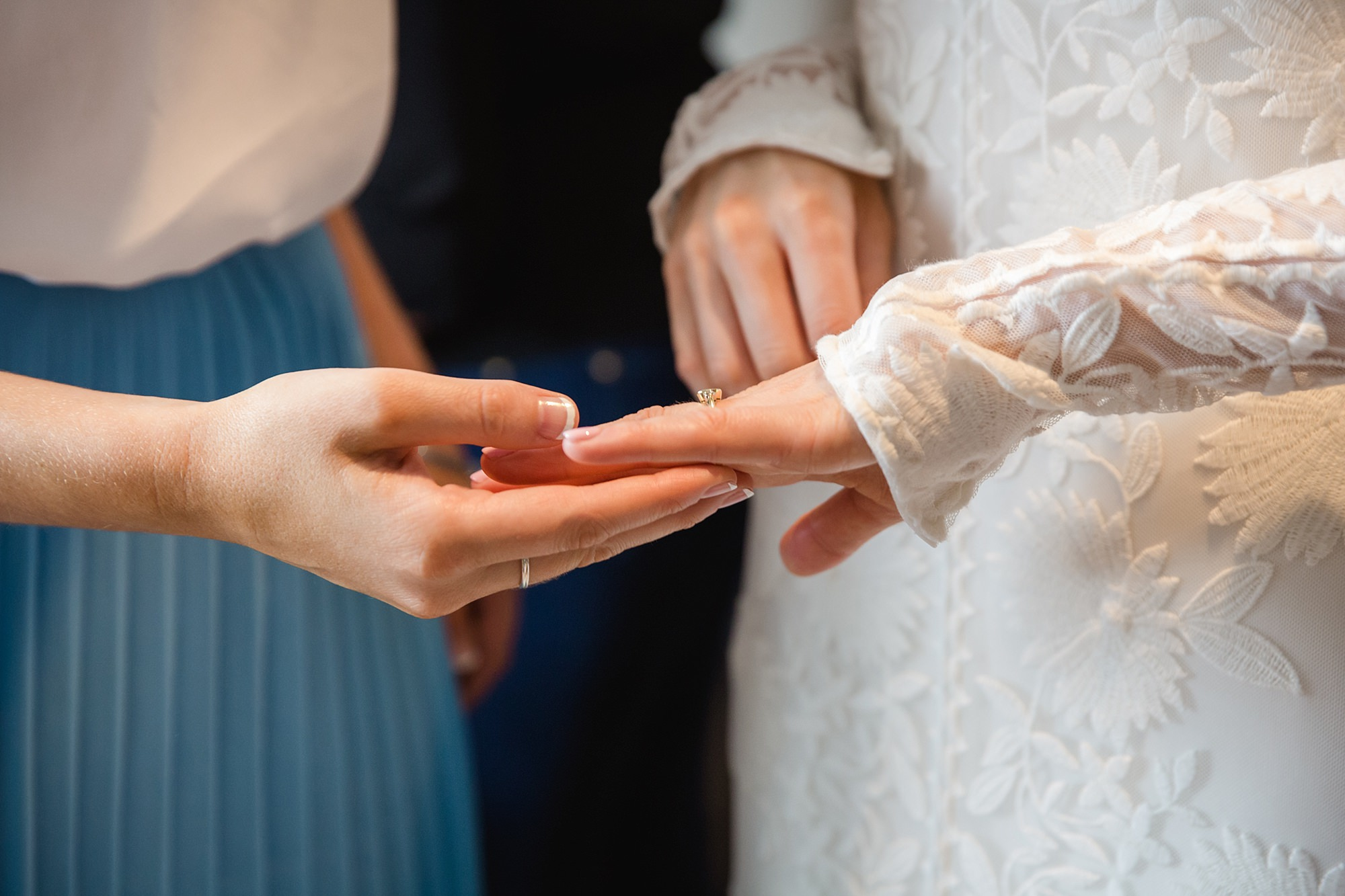 Isis Farmhouse Oxford Wedding close up detail of bride showing off engagement ring