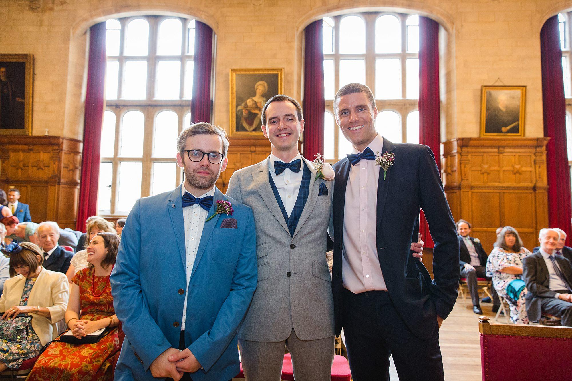 Isis Farmhouse Oxford Wedding portrait of groom and groomsmen ahead of wedding