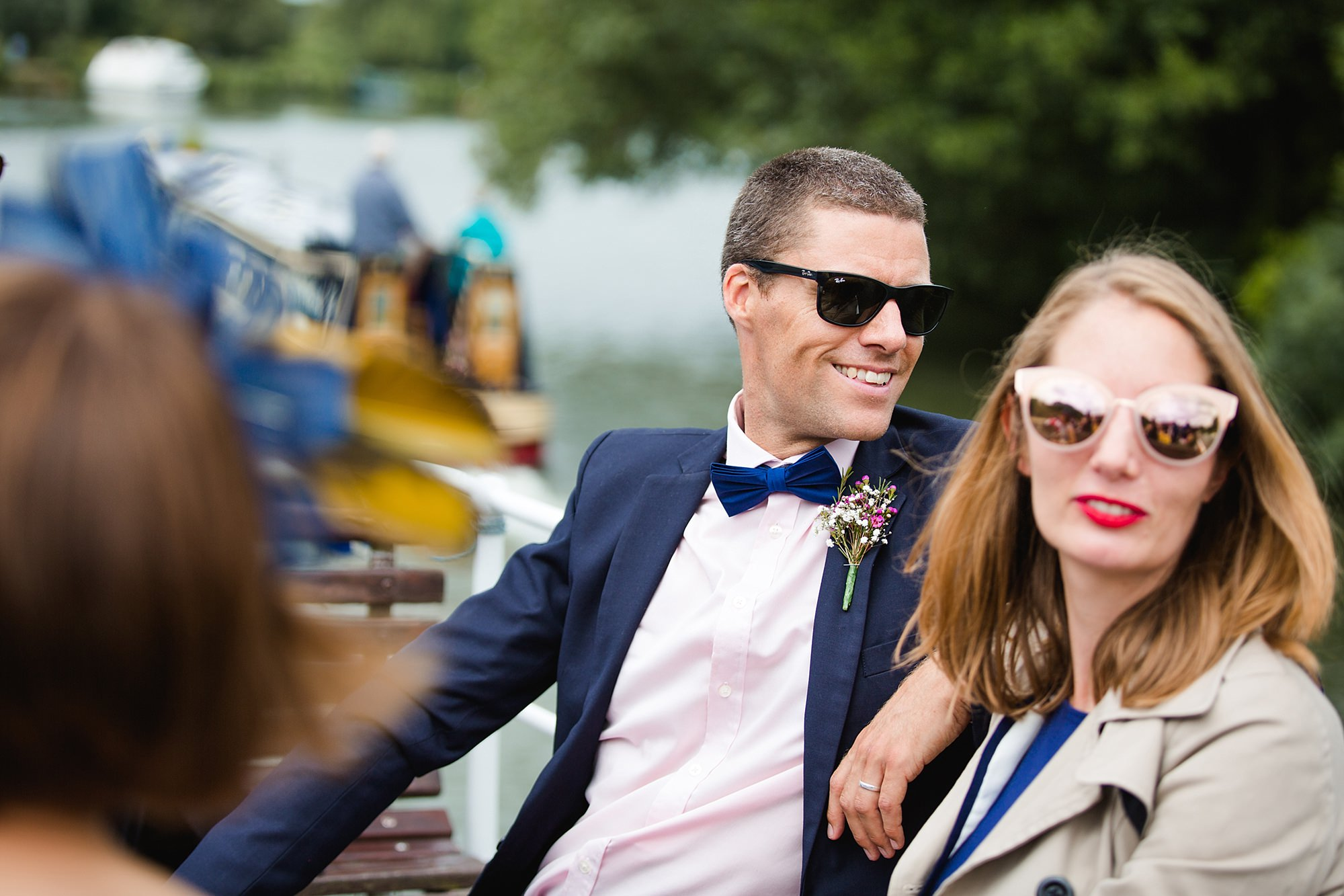 Isis Farmhouse Oxford Wedding guests during drinks reception on boat