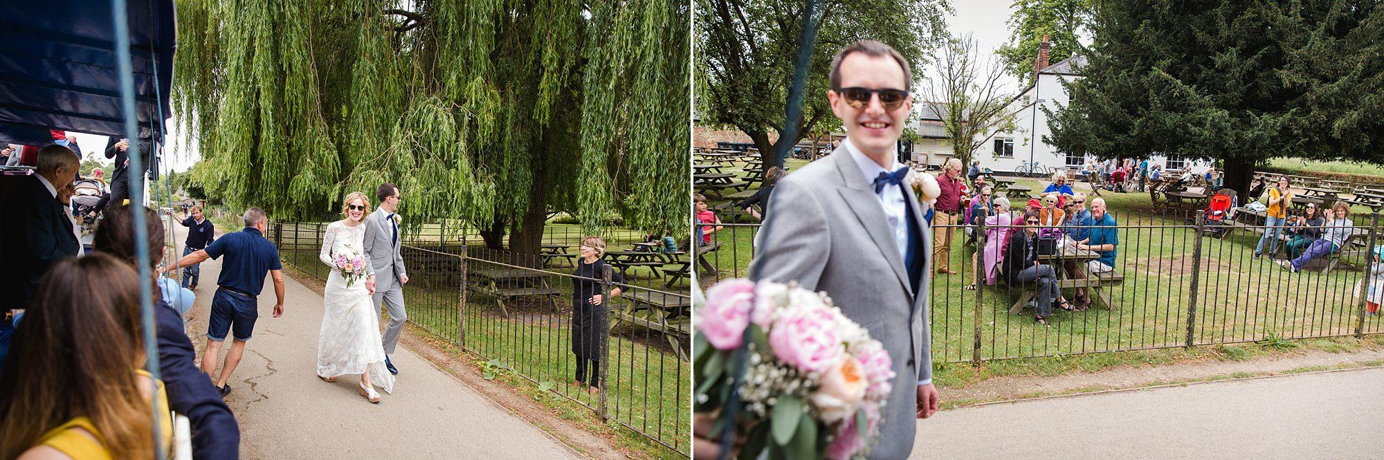 Isis Farmhouse Oxford Wedding bride and groom arrive at isis farmhouse