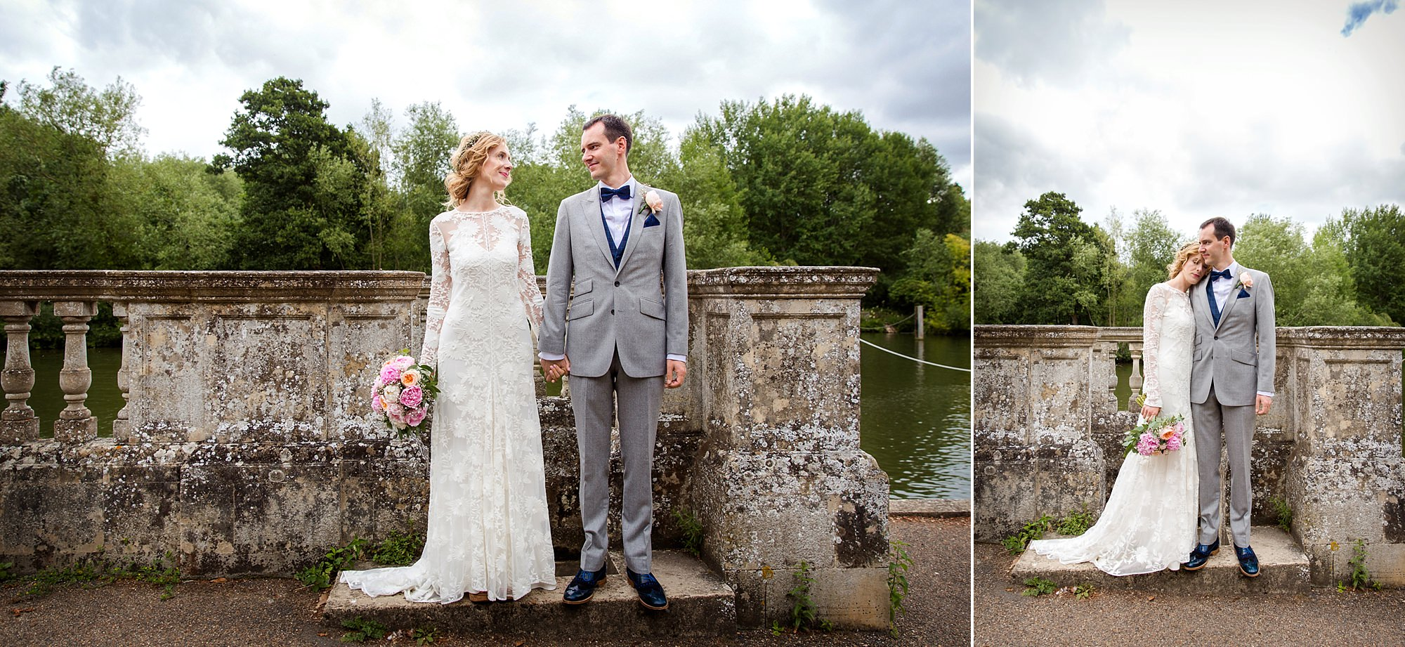 Isis Farmhouse Oxford Wedding portrait of grade and groom stood together on bridge