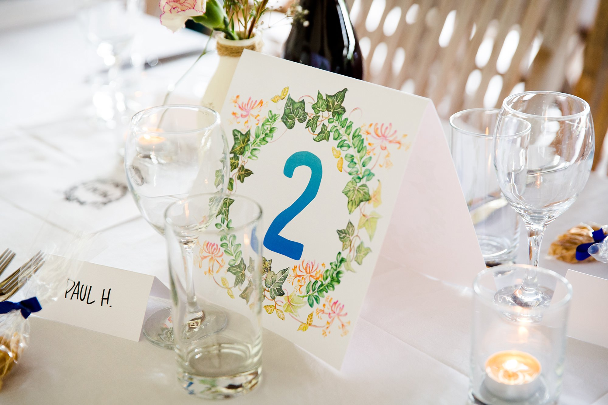 Isis Farmhouse Oxford Wedding close up detail of hand illustrated table number