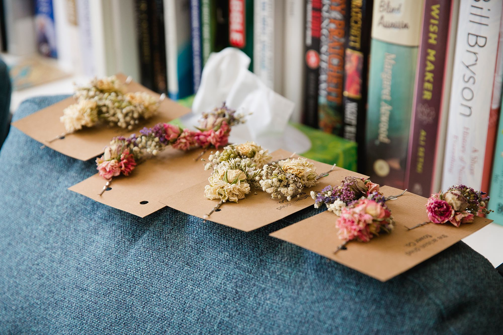 oyster shed wedding close up detail of dried flower hairpieces