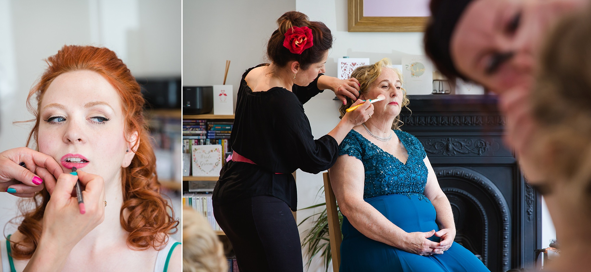 oyster shed wedding makeup application for bride and her mother
