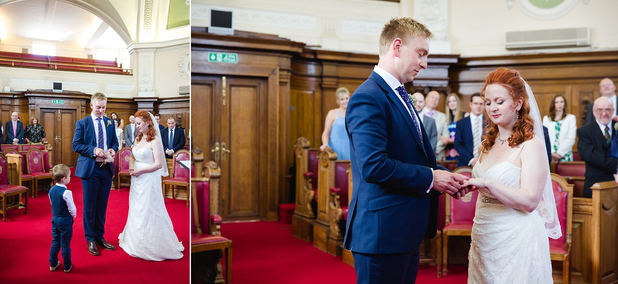 oyster shed wedding portrait of bride and groom at islington town hall ceremony