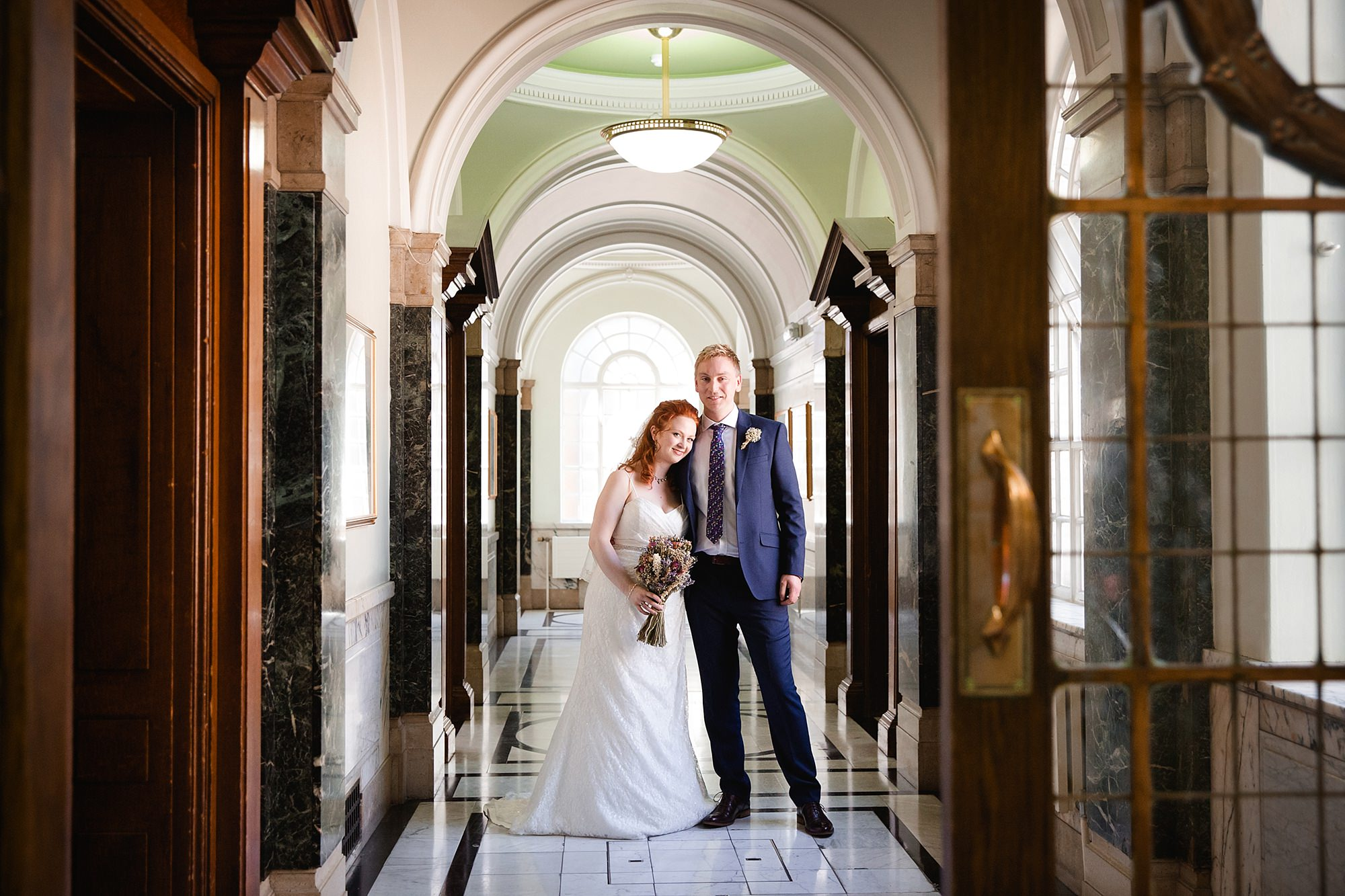 oyster shed wedding bride and groom together at islington town hall