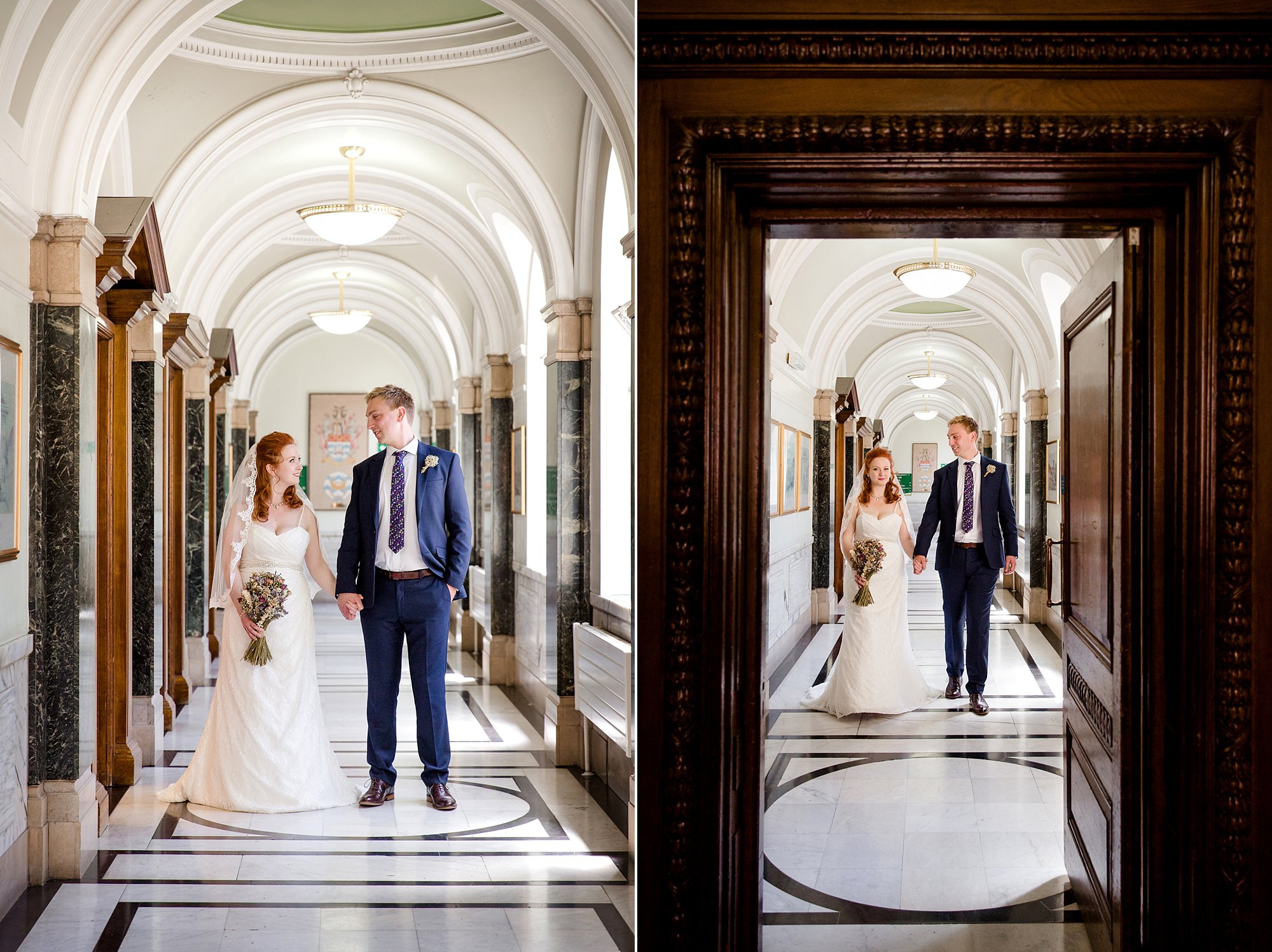 oyster shed wedding bride and groom in corridors at islington town hall