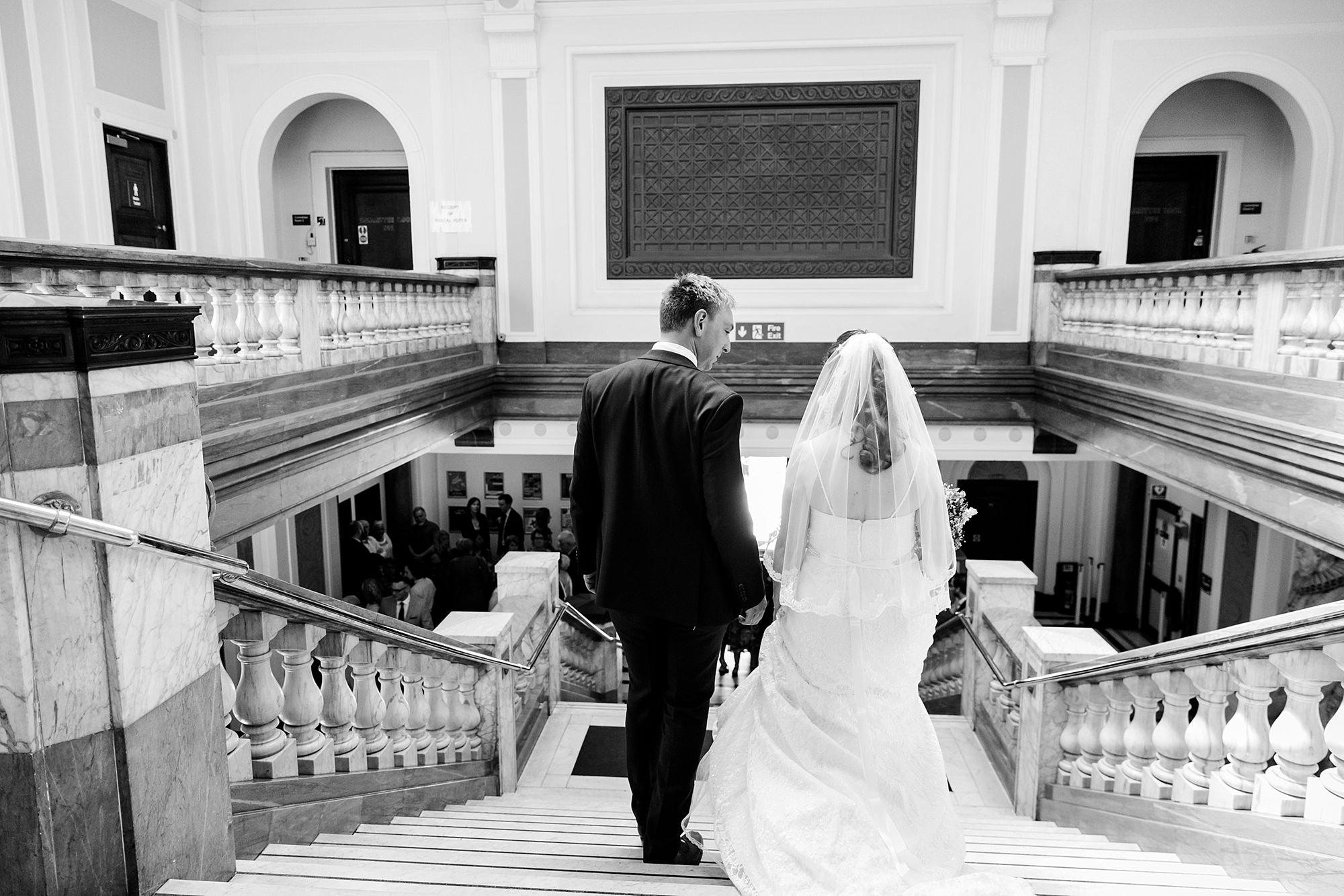 oyster shed wedding bride and groom exit islington town hall
