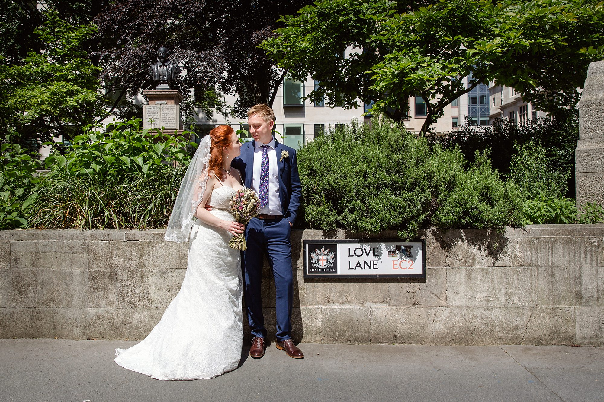 oyster shed wedding portrait of bride and groom at love lane