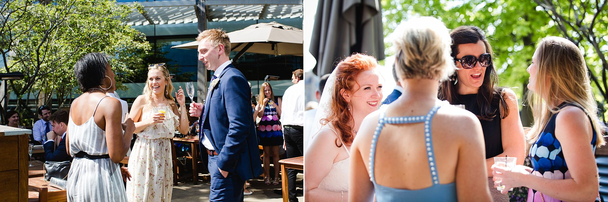 oyster shed wedding guests enjoying drinks reception