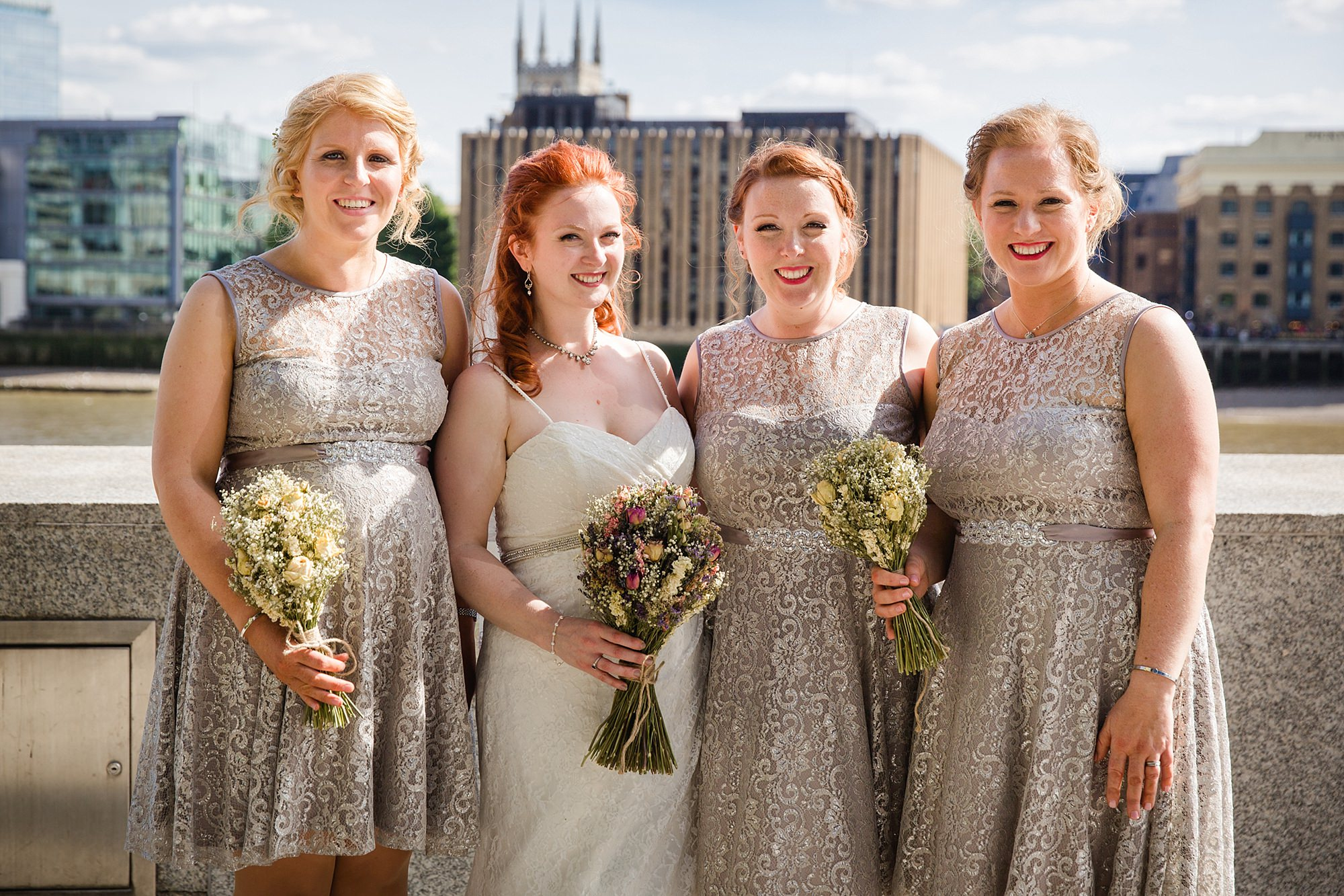 oyster shed wedding portrait of bride and bridesmaids