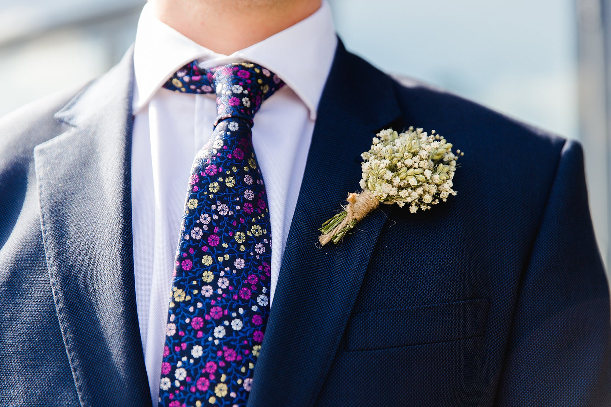 oyster shed wedding groom's dried floral buttonhole