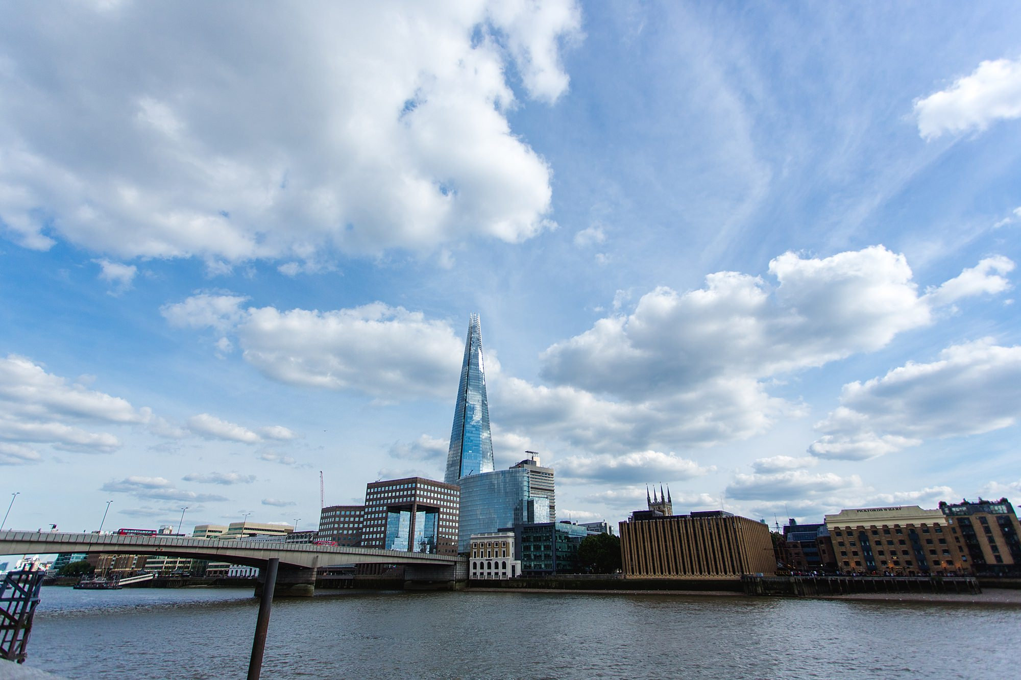 oyster shed wedding view of the shard from the oyster shed