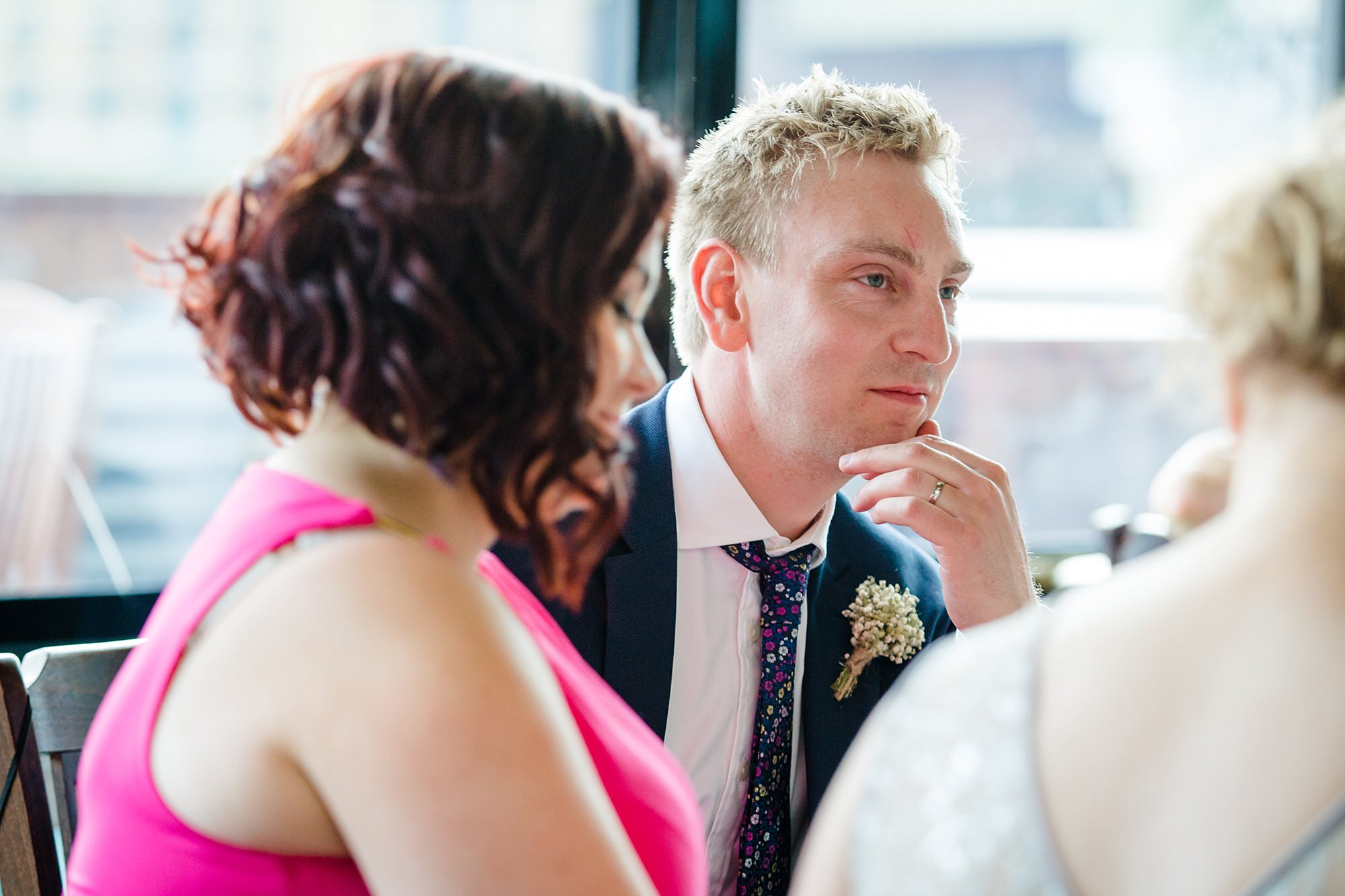 oyster shed wedding portrait of groom during speeches