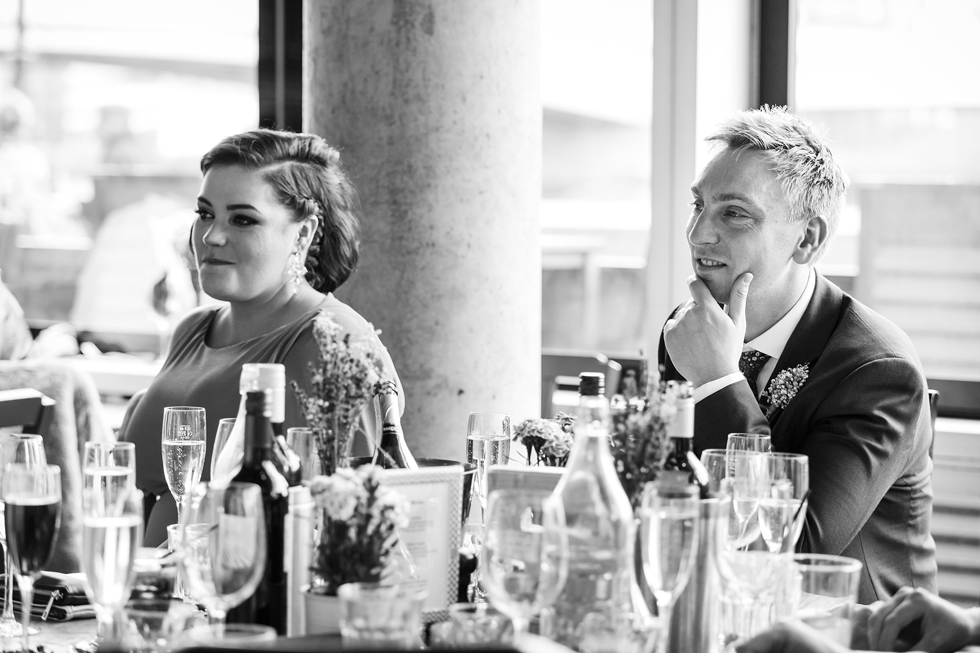 oyster shed wedding guests listen to brides speech