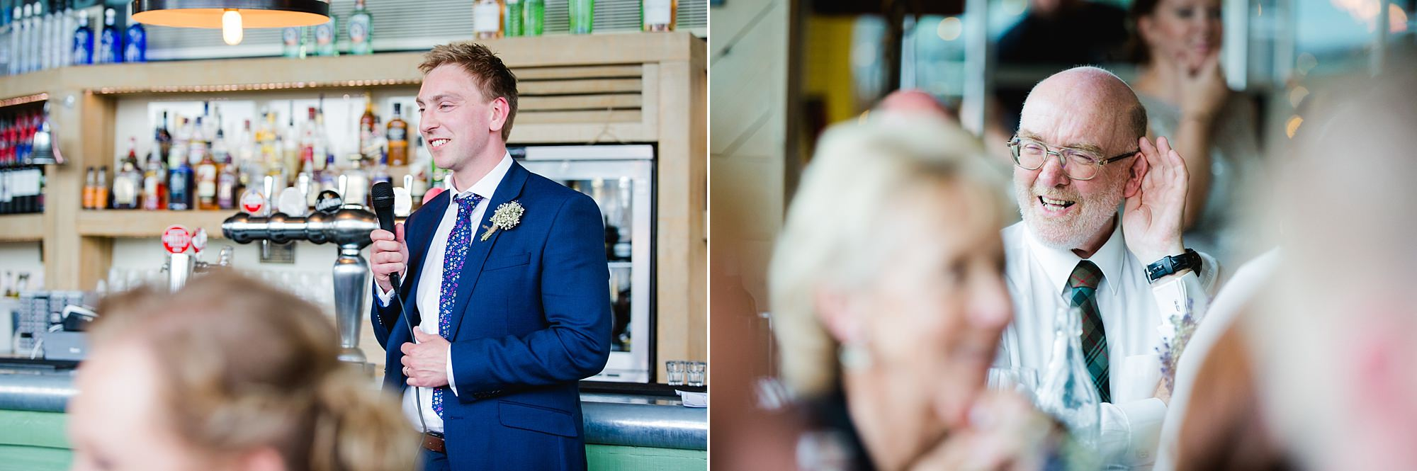oyster shed wedding portraot of groom giving speech