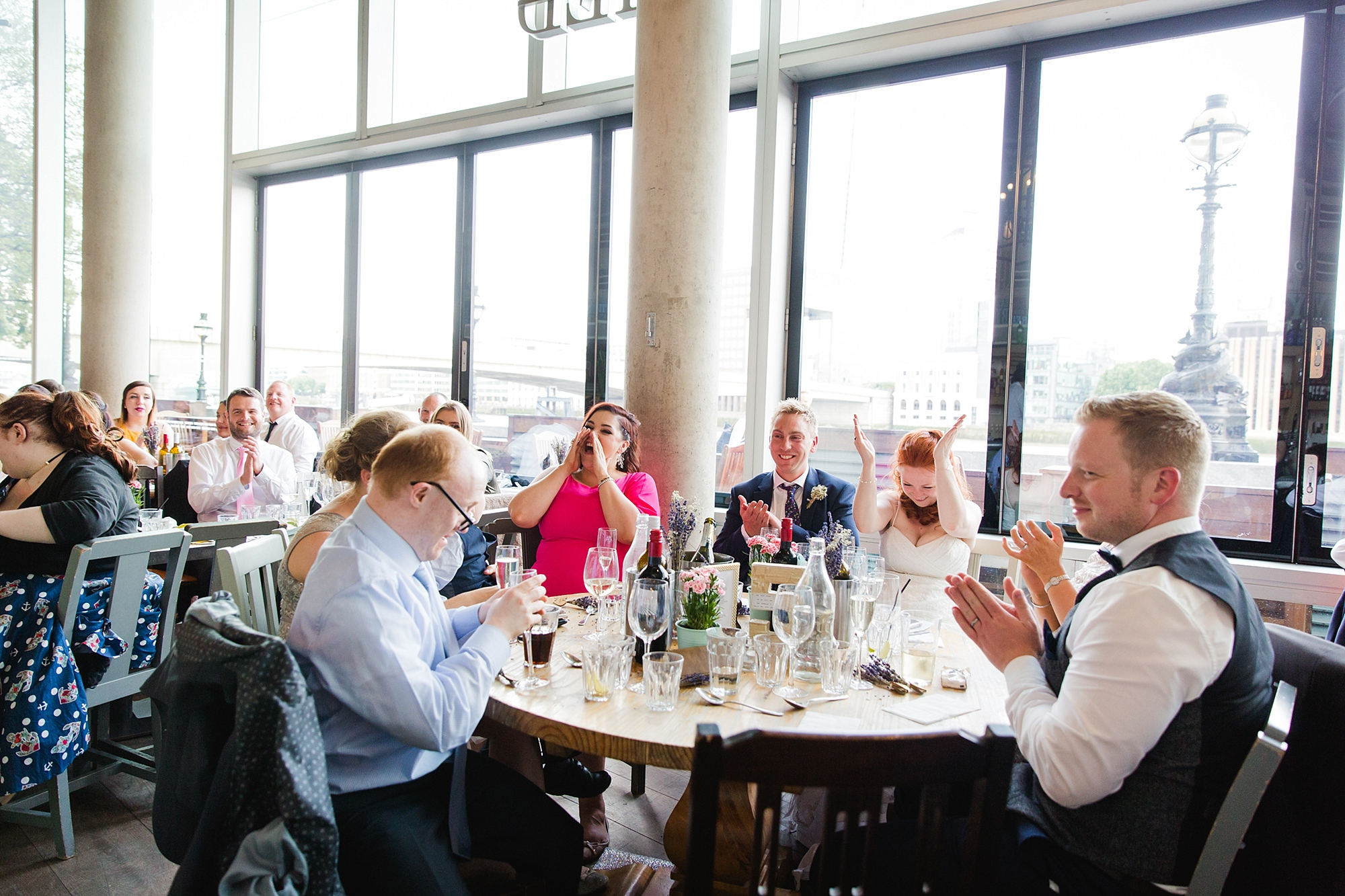 oyster shed wedding guests enjoying speeches