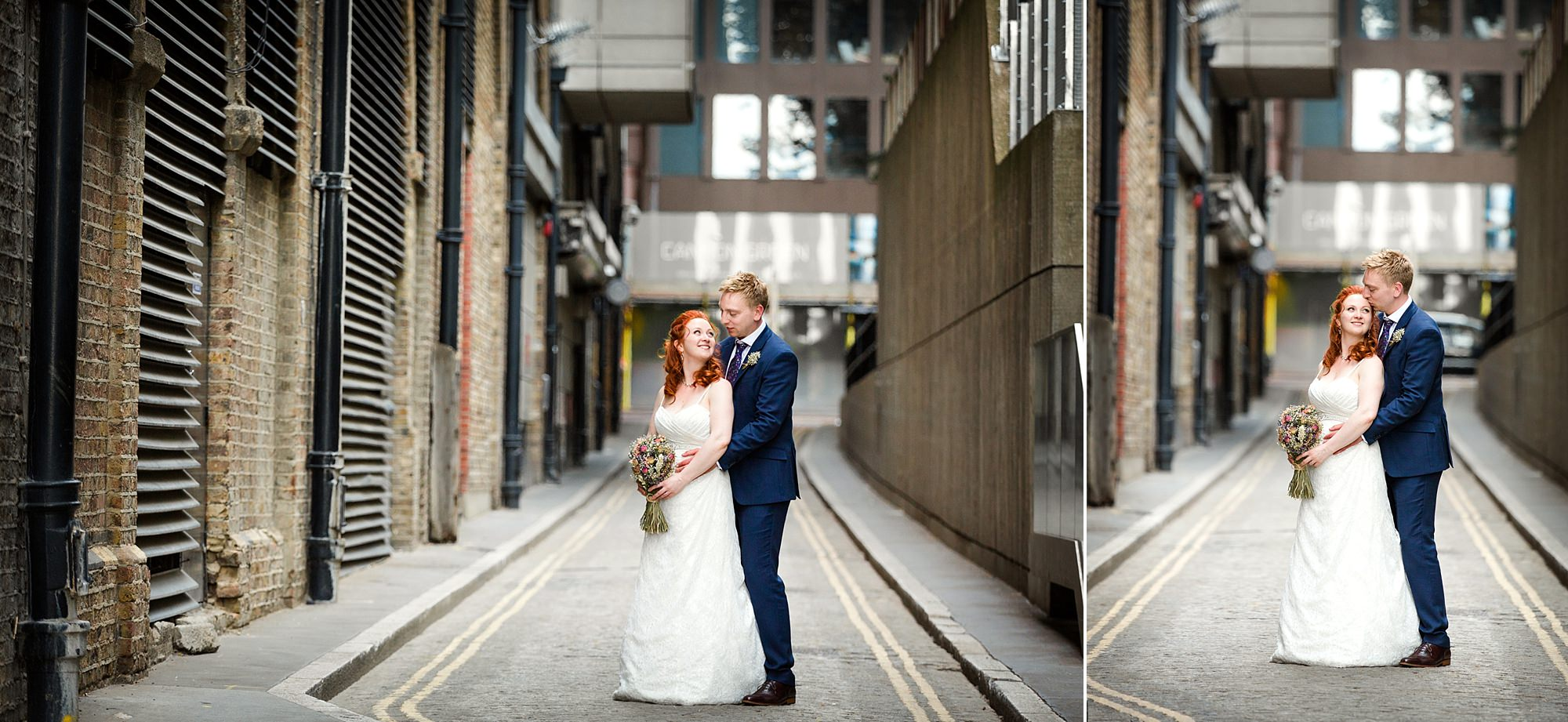 oyster shed wedding portrait of bride and groom together in London street