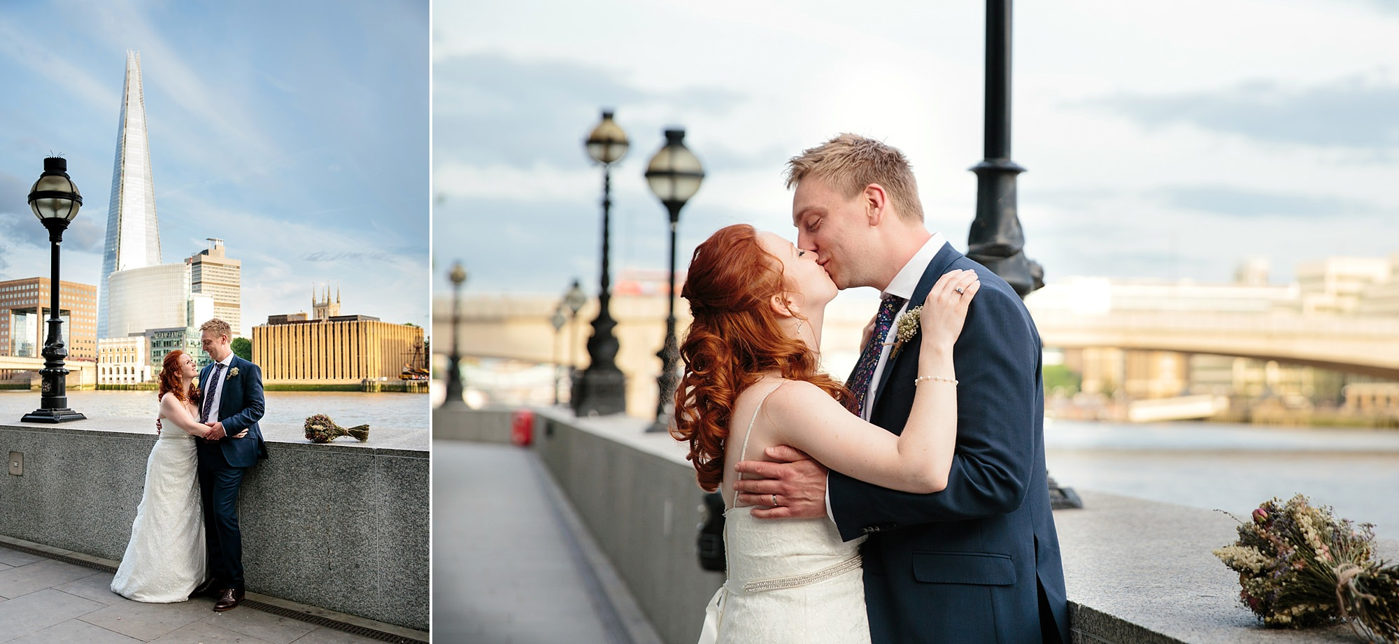 oyster shed wedding portrait of bride and groom by the thames