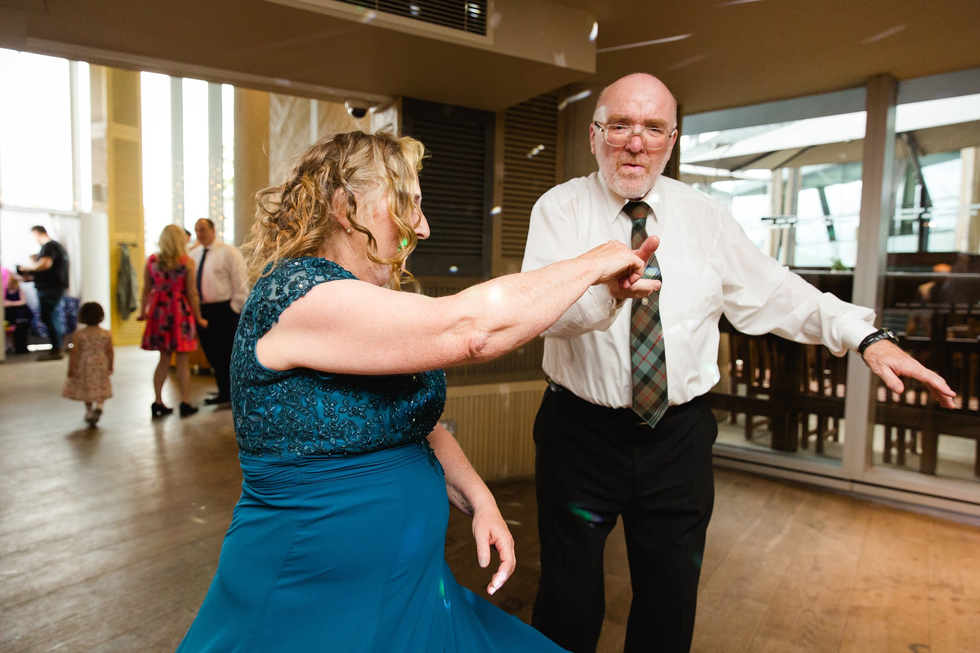 oyster shed wedding guests dancing
