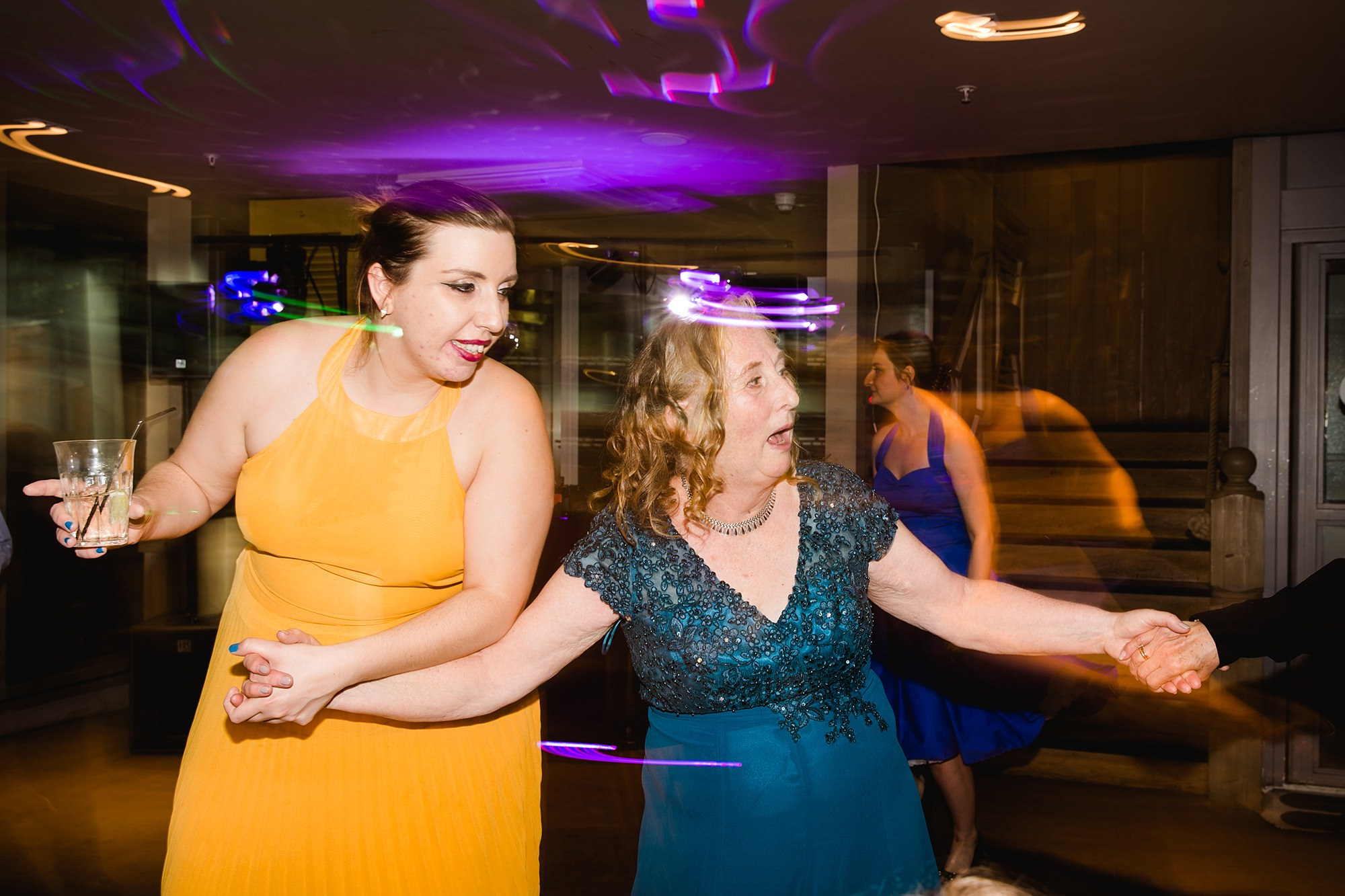 oyster shed wedding fun guests dancing