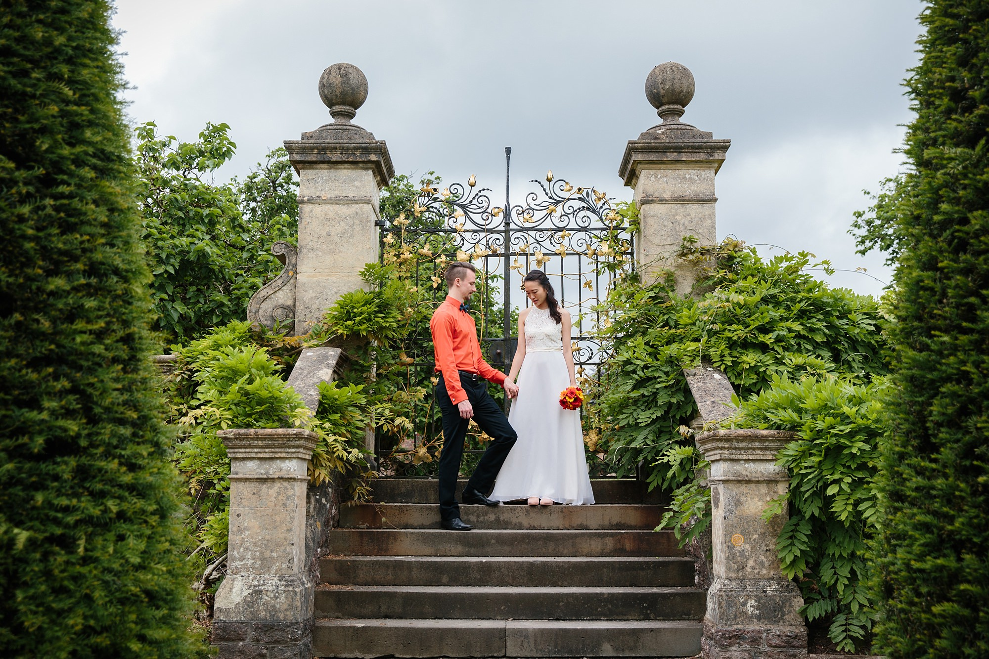 Cardiff couples shoot on steps at st fagans garden