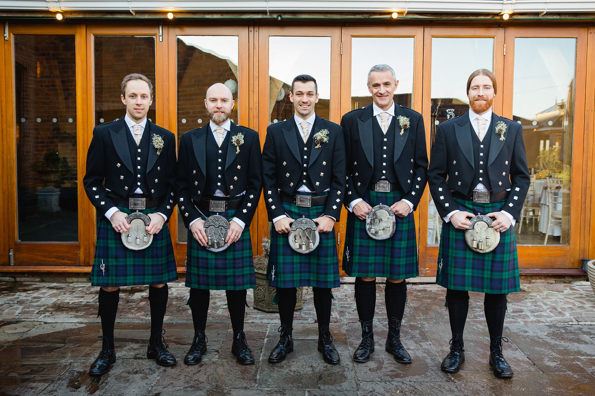 swancar farm wedding groomsmen in kilts