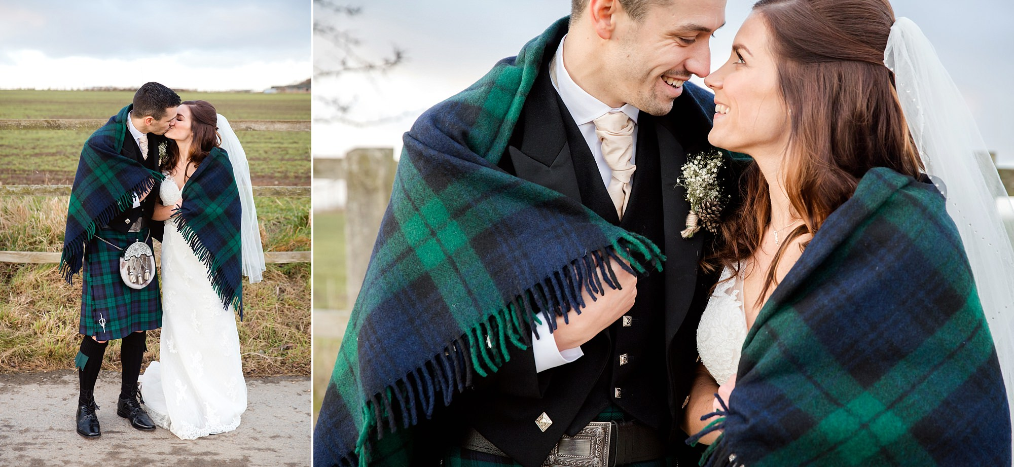 swancar farm wedding bride and groom under tartan shawl