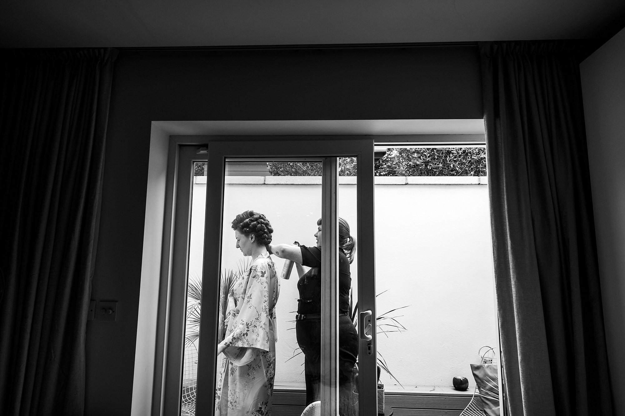 The Grange Ealing wedding bride has her vintage curls set
