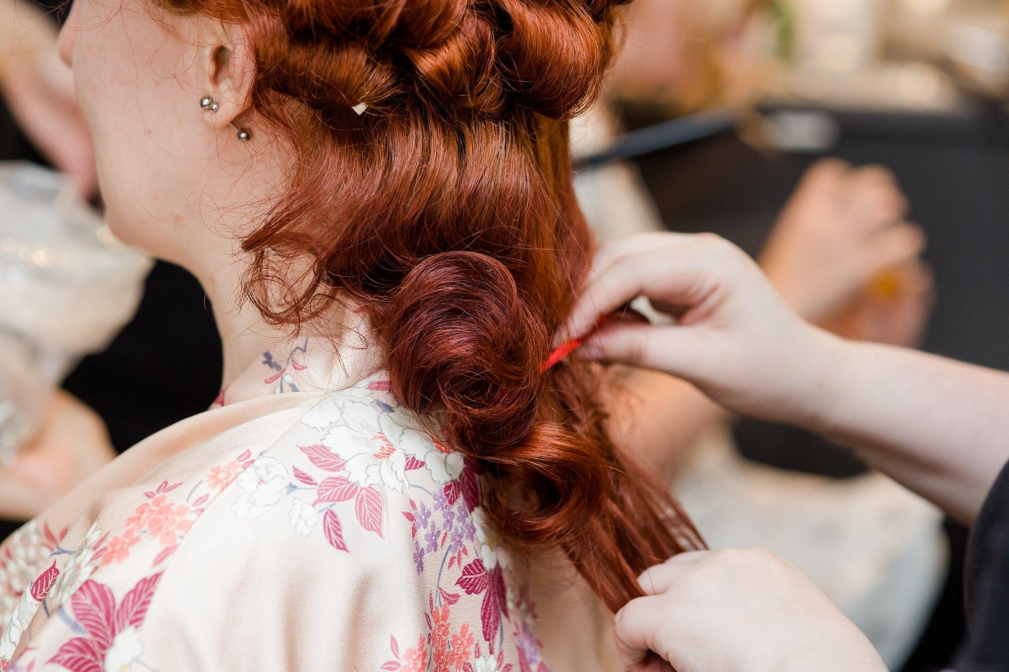 The Grange Ealing wedding bride had vintage curls brushed out