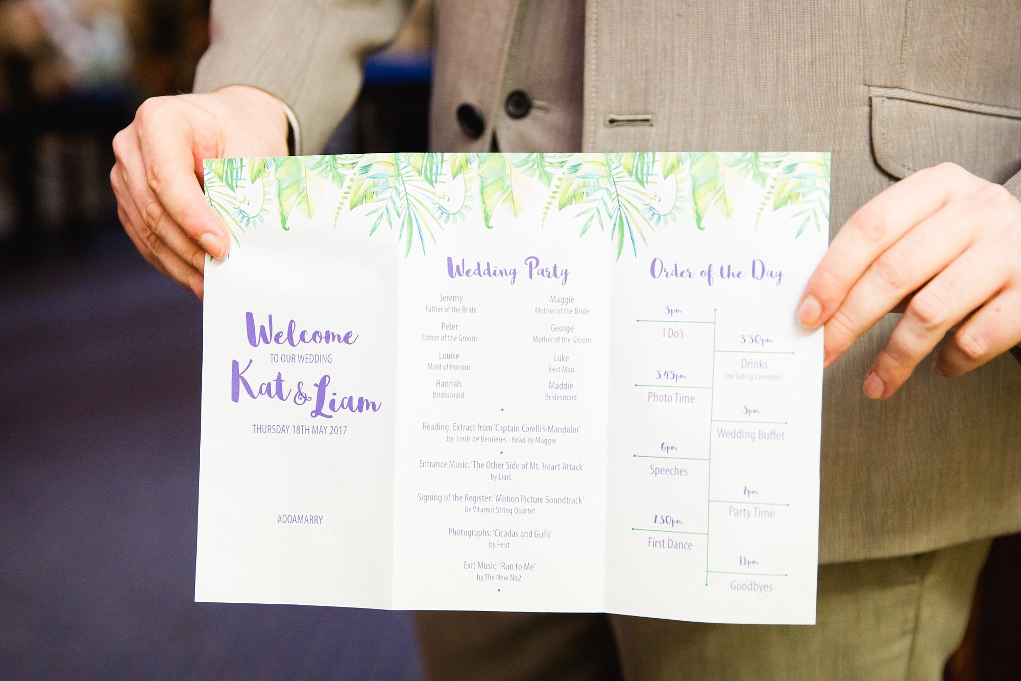 The Grange Ealing wedding close up detail of tropical theme wedding program