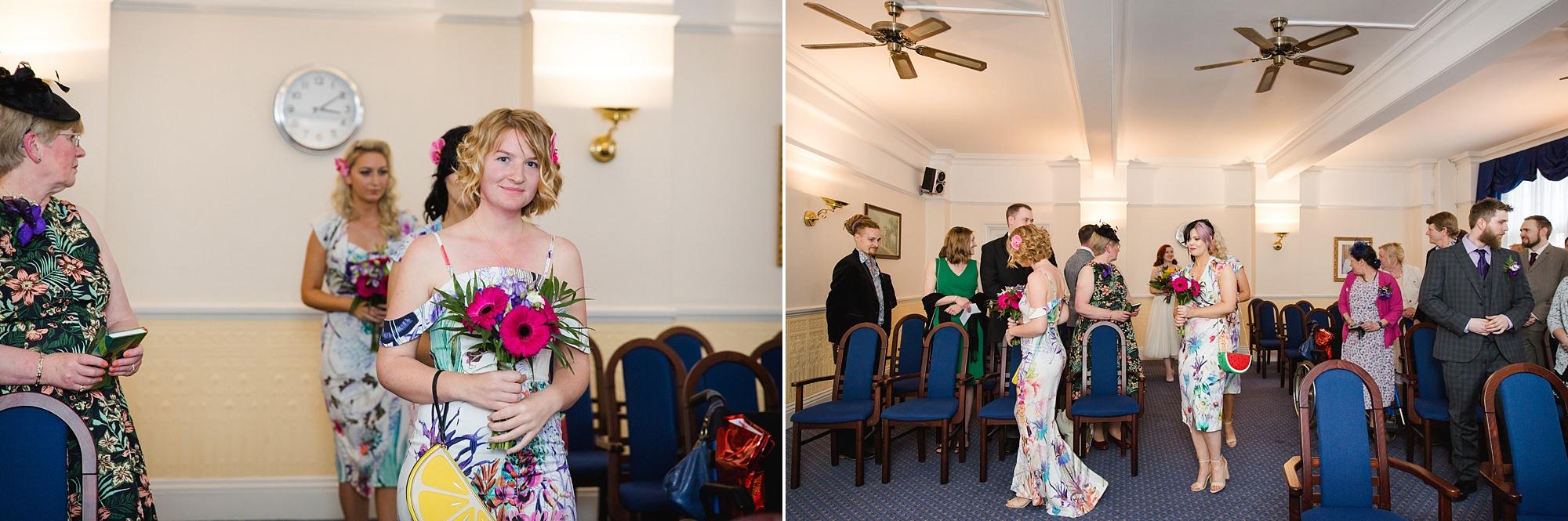 The Grange Ealing wedding bridesmaids walk down the aisle