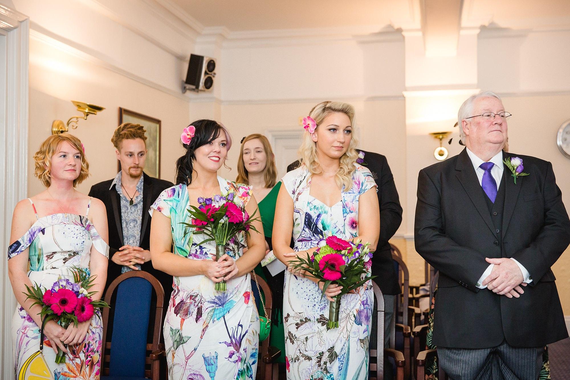 The Grange Ealing wedding bridesmaids watch wedding ceremony