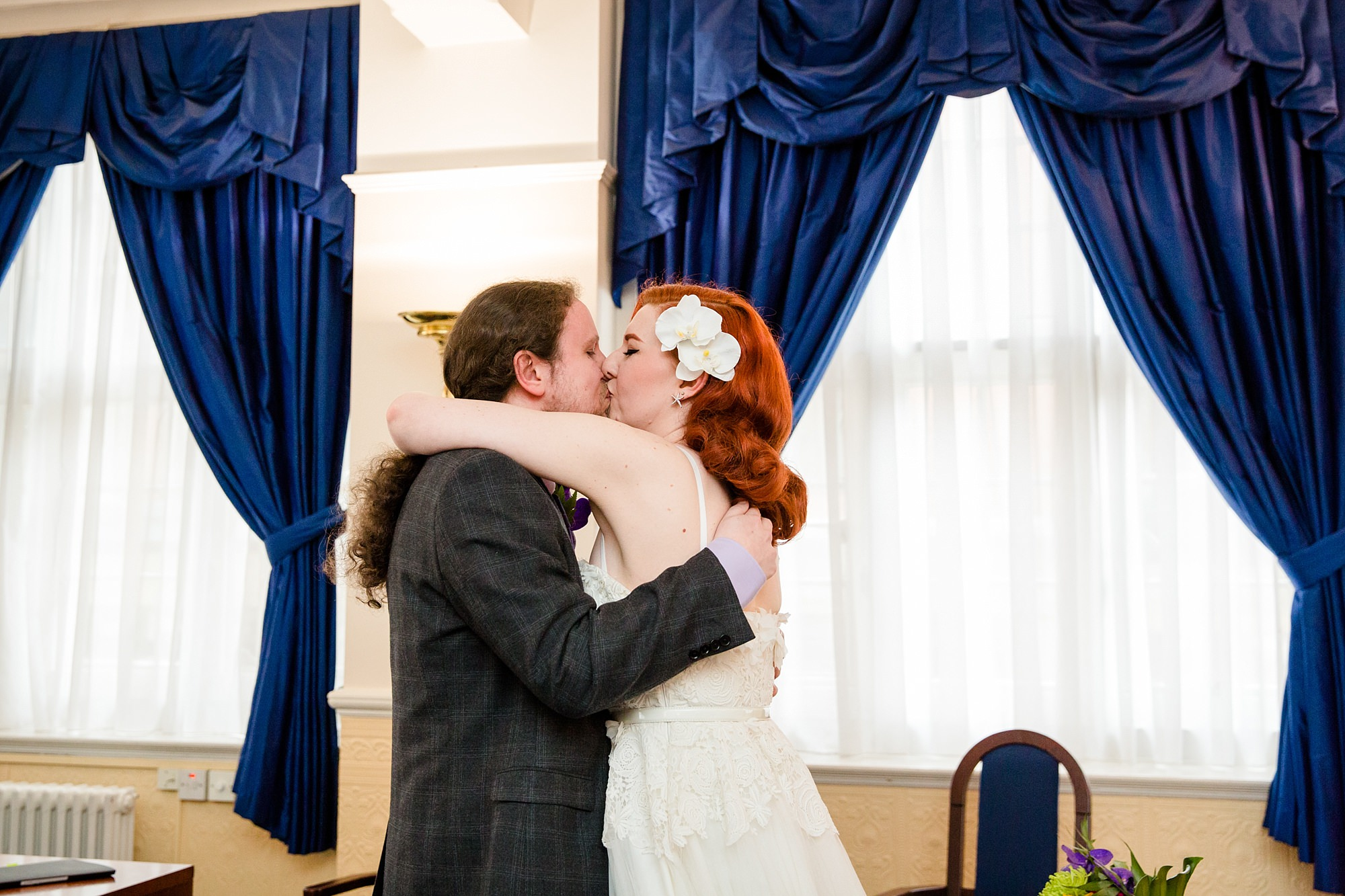 The Grange Ealing wedding bride and groom kiss