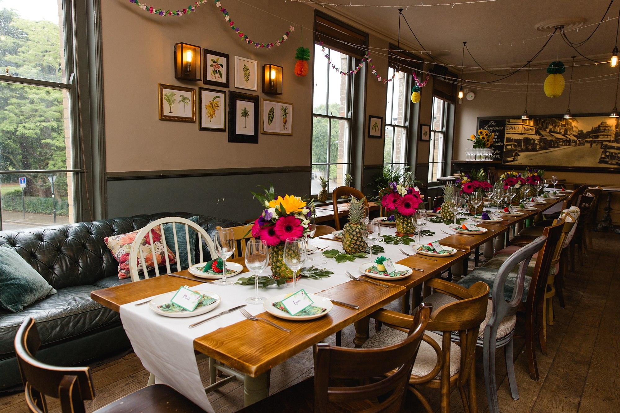 The Grange Ealing wedding tropical themed table setup