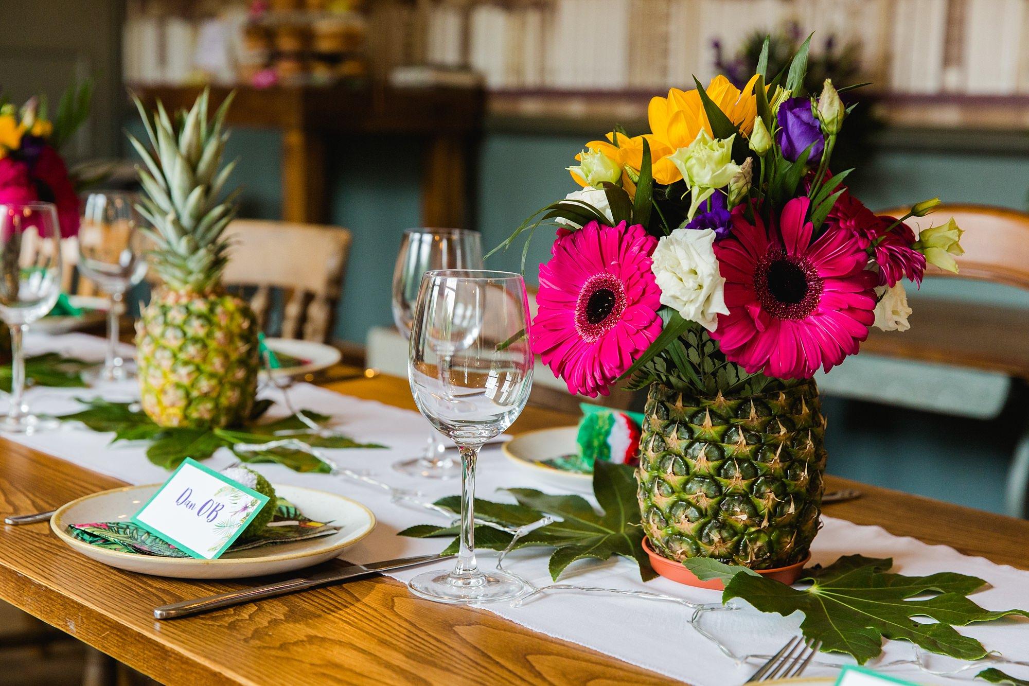 The Grange Ealing wedding floral pineapple wedding decoration