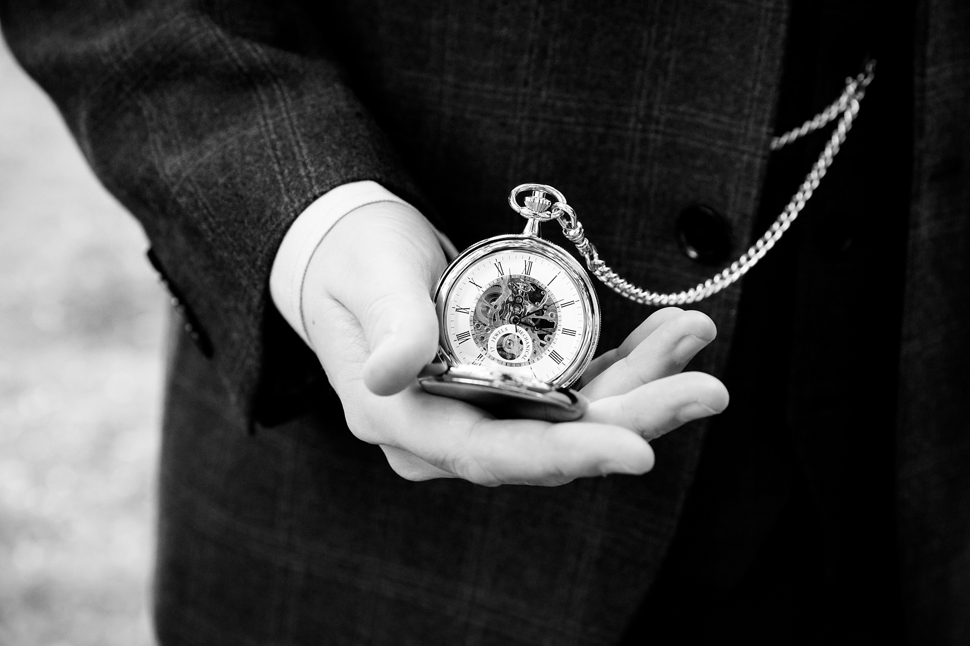 The Grange Ealing wedding close up detail of groom's pocket watch