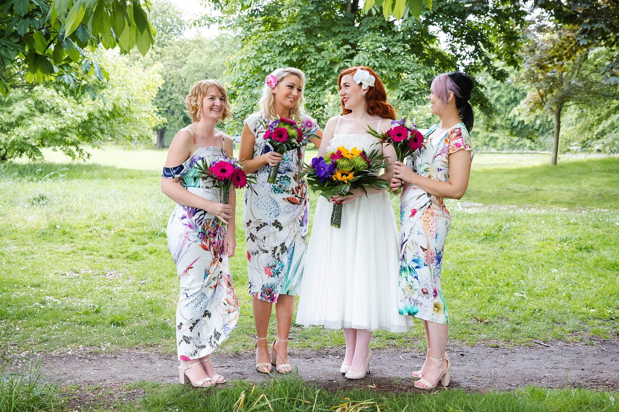 The Grange Ealing wedding fun portrait of bride and bridesmaids