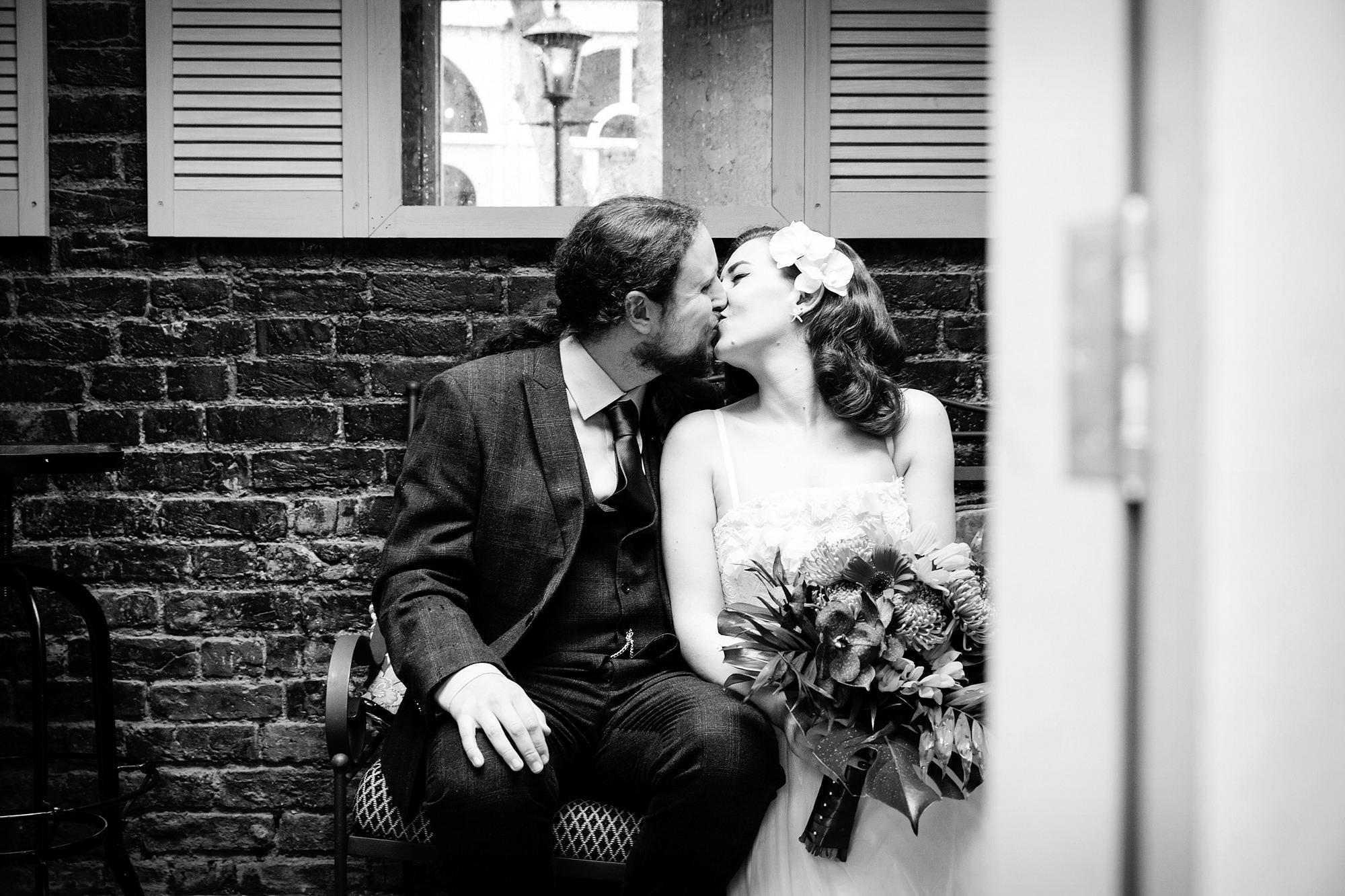 The Grange Ealing wedding groom and bride kiss