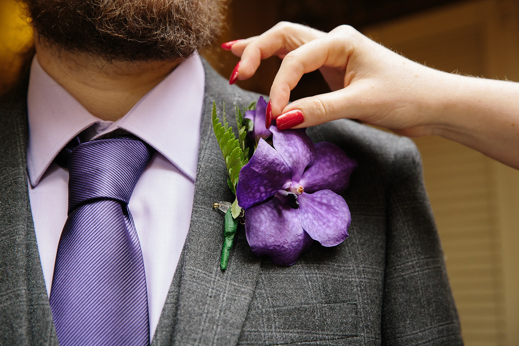 The Grange Ealing wedding groom's tropical buttonhole